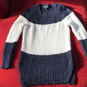 J. Crew Navy White sweater cotton linen small